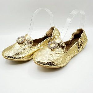 NWOT JOAN BOYCE GOLD CINCH FOLD-ABLE FLATS